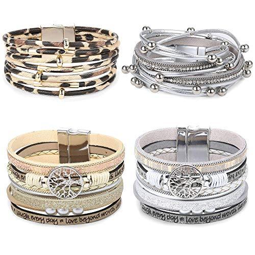 Milacoalto 4Sets Mehrschichtiges Wickelarmband aus Leder Stapelbar Handgemachtes Armband Geflochtenes Seil Manschettenarmband mit Magnetschnalle Schmuck