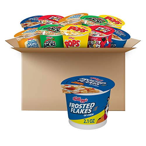 Kellogg's Breakfast Cereal, Variety Pack, Kids Cereal, Assortment Varies, Single Serve (24 Cups)
