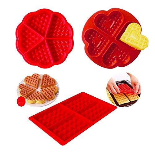 3 Piezas Moldes Waffle Silicona, DIY Corazón Mini Molde de Silicona, Silicona Hornear gofres Moldes, Repostería Decoración Moldes per Galletas Tarta Muffin Cocina, Antiadherente
