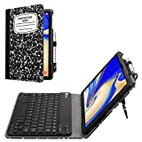 Fintie Folio Keyboard Case for Samsung Galaxy Tab S4 10.5 2018 Model SM-T830/T835/T837, Premium PU Leather Stand Cover with Removable Wireless Bluetooth Keyboard, Composition Book