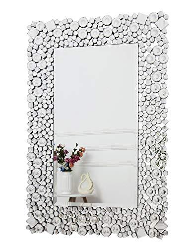 RICHTOP Wandspiegel groß mit Glitzer Jeweled Kristall schwarz Holz Backing, Glamorous Rechteck Silber Schminkspiegel Wandmontage für Wohnzimmer, Flur, Über Sofa, Feuerplatz 60x90cm