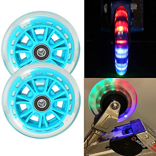 Kutrick 2 Scooter Wheels 100mm Pair LED Scooter with ABEC 9 Bearings for Razor Scooter 100mm A, A2 A4, Spark, Spark 2.0 and A Sweet Pea and All 100mm...