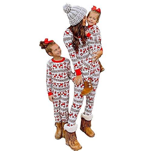 YYIXING Familien Passendes Weihnachtspyjama-Set für Kinder Und Erwachsene