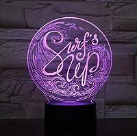 3Dナイトランプ7色変更USBテーブル照明寝室の装飾ライト