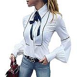 Office Bow Tie Blusa Mujer Linterna Manga Botón Blanco Corbata Camisas Mujer Elegante Camisa de Trabajo Casual Tops Ne