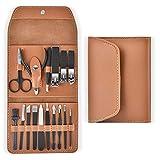 NailGlam Manicure Pedicure Set Nail Clippers Kit 16 PCS Kit de higiene de acero inoxidable Juego de recortes de uñas portátil y herramientas de aseo con estuche de cuero PU-marrón_16 sets