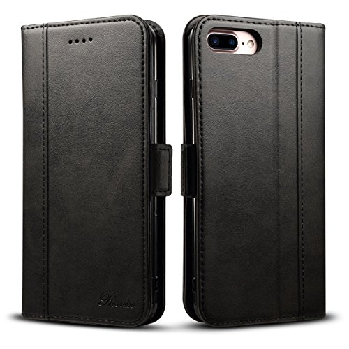 Rssviss iPhone 7/8 Plus Hülle, iPhone 6/6s Plus Handyhülle [4 Kartenfächer ] iPhone 8 Plus Schutzhülle [Handy Ständer] [Magnetverschluss ] Lederhülle für iPhone 6/6s/7/8 Plus Klapphülle 5.5