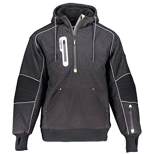 RefrigiWear Men's Extreme Hybrid Insulated Pullover Sweatshirt Hoodie with Performance-Flex (Black, Medium)