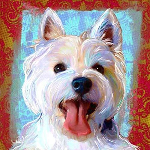Pintura DIY por números para adultos, divertido perro West Highland Terrier para niños y adultos, dibujo principiante con pinceles, decoración de Navidad, regalos