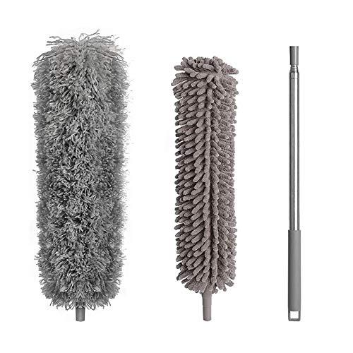 Plumero extensible, de microfibra, de 250 cm, telescópico, lavable, desmontable, para limpiar techos altos, ventilador de techo, persianas, telarañas