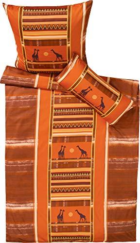 Erwin Müller Bettwäsche Feinflanell orange Größe 135x200 cm (80x80 cm)