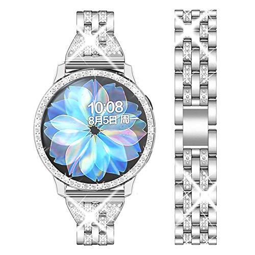 DEALELE Cinturino Compatibile con Samsung Galaxy Watch Active 2 40mm / Galaxy Active 2 44mm, Bracciale in Metallo Acciaio Inossidabile Diamante Lucido con Custodia Protettiva, Argento
