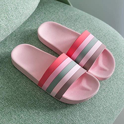 Zapatos de playa, ducha, gimnasio, chanclas antideslizantes, par de zapatos, sandalias de baño de suela gruesa, 39-40_rosa, suelas gruesas de espuma fangkai77