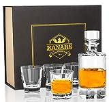 KANARS Vasos y Jarra de Whisky, 600 ml Decantador de Whisky Cristal Sin Plomo con 4 Copas 230 ml, 5...