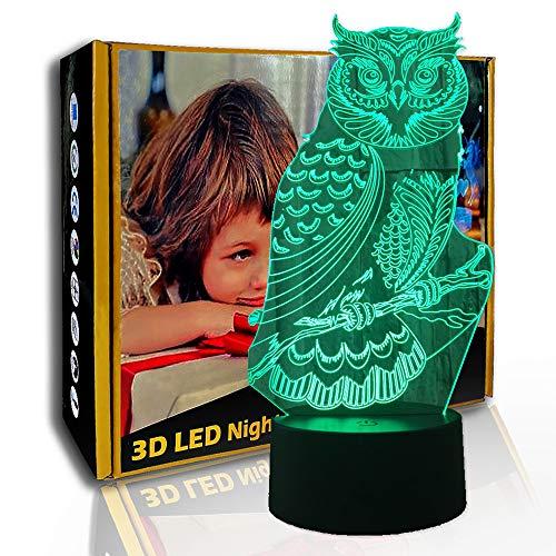 KangYD LED Nachtlicht Mächtige Eule, 3D Illusionslampe, Raumvisuelle Lampe, E - Alarm Clock Base (7 Farbe), 7 Farbwechsel, Geschenk für Freund, Bunte Veränderung, USB Powered