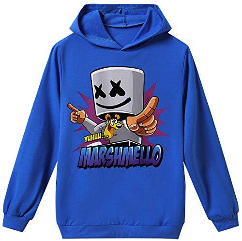 Silver Basic Hoodie Jungen DJ Pullover Karneval Kostüm Kinder Blau Maske B 140
