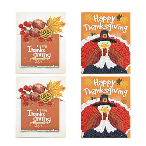 Amosfun 4 stks 5D Diamant Schilderen Thanksgiving Kaarten Volledige Boor Thanksgiving Wenskaart Kunsten Craft Decor