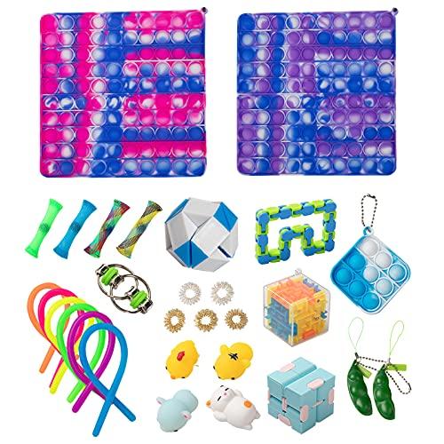 Venyss Pop Game 29 Pack Big Size Pop Its Set Fidget Toy Pop Game Push Pop Bubble Fidget Sensory Toy Popper Fidget Toys Set Stress Relief Tools for Kids Adult Men Women