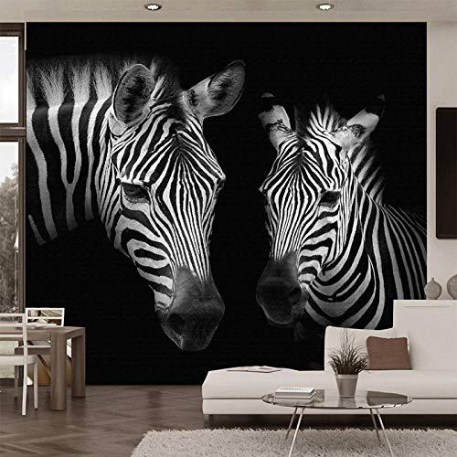 Fotobehang Fotobehang 3D Zwart en Wit Zebra Muralen Woonkamer Studie Achtergrond Muurdecoratie Abstract Art Wallpapers-400Cm (W) X 280Cm (H)