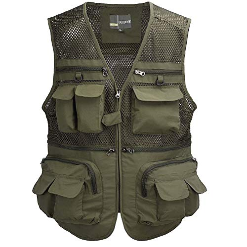 Tongcamo Outdoor Fly Fishing Vest with Multi-Pockets for Fishing, Hiking, Climbing, River Rafting, Hunting