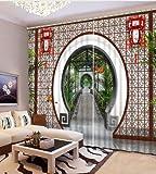Rideau Chinois décoration 3D Profil Rideau en Arbre Chambre Salon Polyester Chambre Rideau wide264cm high160cm