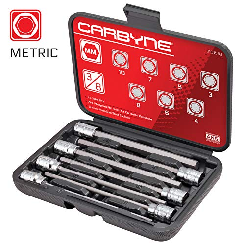 CARBYNE 7 Piece Extra Long Hex Bit Socket Set - Metric, S2 Steel Bits | 3/8' Drive, 3mm to 10mm