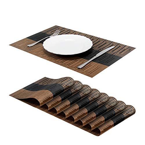 Jujin Juego de 8 Manteles Individuales Antideslizantes, Lavables, PVC, Resistentes al Calor, para Mesa de Comedor Marrón