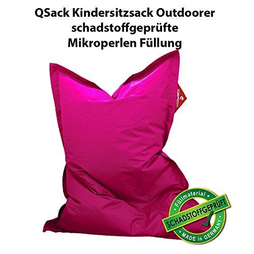 QSack Outdoorer Kindersitzsack, mit Innenhülle und Toxproof Mikroperlen, schadstoffgeprüft, 100x140 cm (pink)