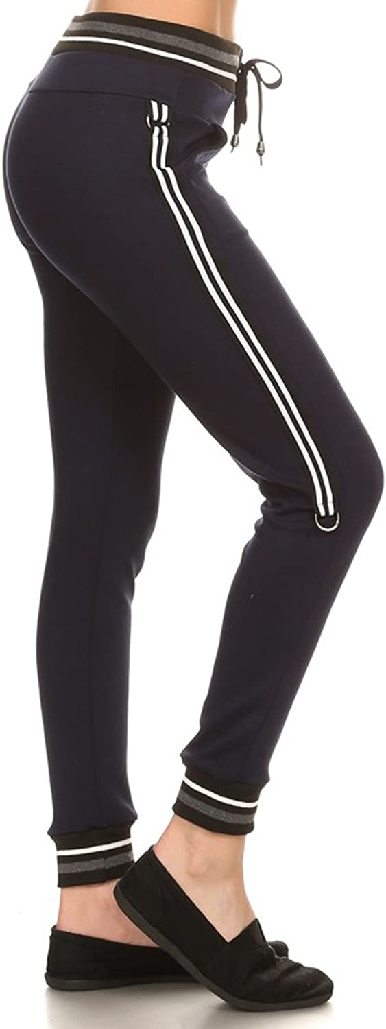 Leggings Depot Women's Printed and 3Stripes Activewear Jogger Track Cuff Sweatpants Inner Pockets