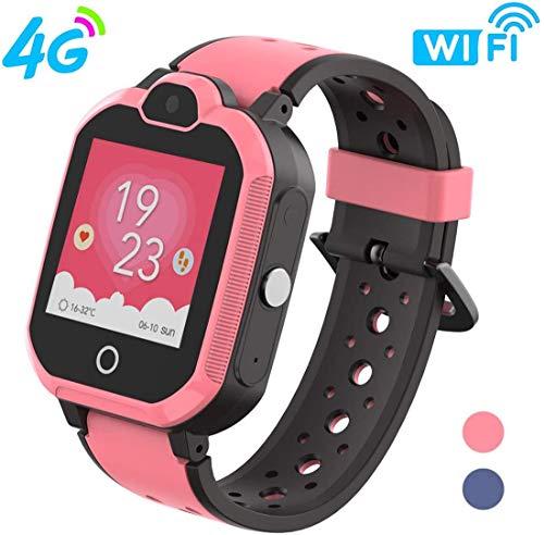 B&H-ERX 4G Kids Smartwatch/Kids GPS Smartwatch Waterproof/WiFi Call, Video Chat, Posición en Tiempo Real, Cámara con Pantalla táctil SOS Alarm Anti-Lost GPS/LBS para niños y niñas