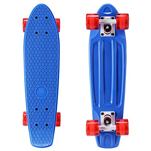 Playshion Complete 22 Inch Mini Cruiser Skateboard for Beginner with Sturdy Deck Shiny