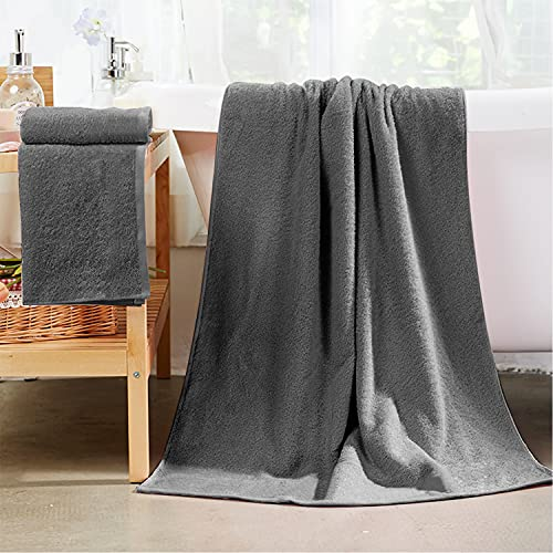 Buluri Toallas de Baño Grandes - Juego de 2 Toallas de Baño, Toalla Gris Baño de Microfibra - 160 x 90 cm
