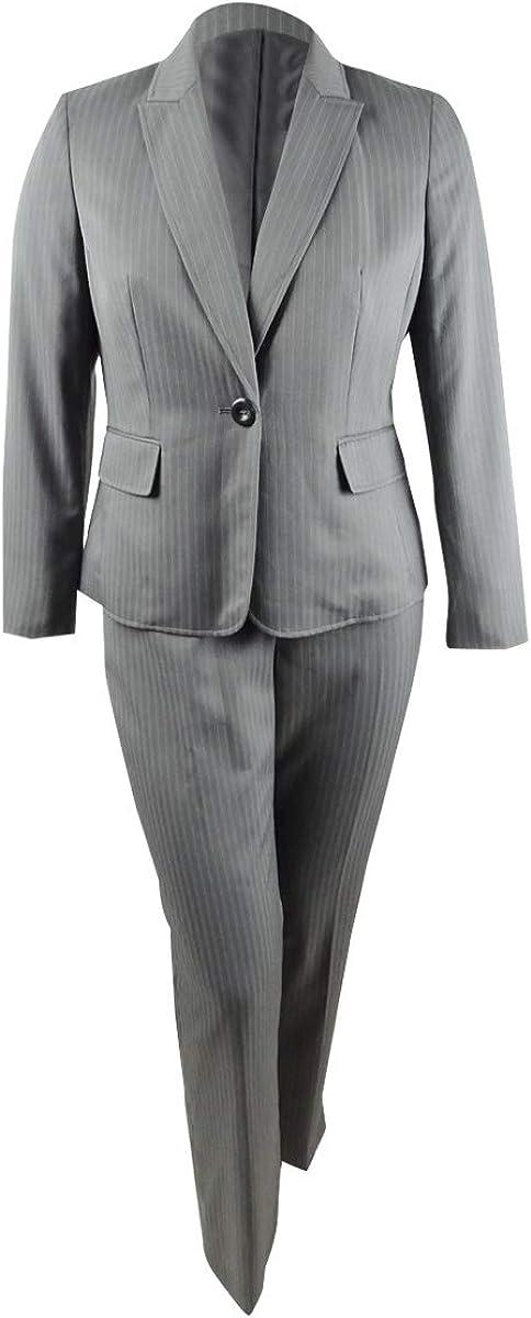 Le Suit Women's Plus Size One-Button Pinstriped Pantsuit (14W, Grey Multi)