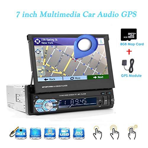 GOFORJUMP Auto Lettore Multimediale Autoradio Navigazione GPS Stereo Audio Radio Bluetooth 1DIN 7 'HD Retrattile MP5 AUX-IN SD FM USB