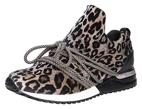 La Strada 1804189 Sneaker Velvet Beige Leopard 39