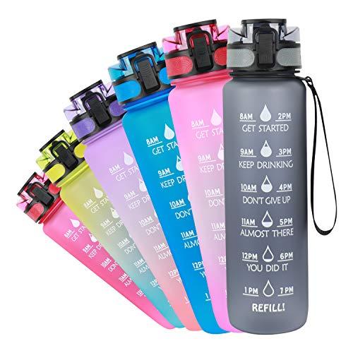 Azebo 1L Wasserflasche mit Motivations-Zeitmarkierungen und Tee-Fruchtsieb, Tritan BPA-freier, wiederverwendbarer, auslaufsicherer Trinkkrug für das Outdoor-Sportbüro, 1 Liter, grau