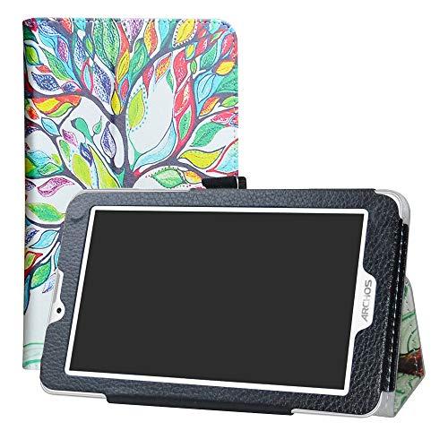 """LFDZ Archos Access 70 3G Funda, Soporte Cuero con Slim PU Funda Caso Case para 7.0"""" Archos Access 70 3G Tablet,Love Tree"""