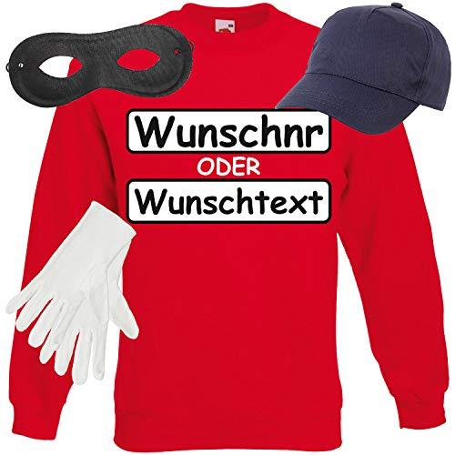Shirt-Panda Unisex Sweatshirt Panzerknacker Kostüm + Cap + Maske + Handschuhe Verkleidung Karneval SET15 Sweater/WN/Cap/Maske/Handschuhe L