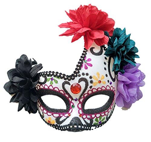 Coolwife Damen Maskerade Maske Mexikanischer Tag des Toten Zuckerschädel Eyemask Masque Abendkleid Einheitsgröße Lila / Weiß / Schwarz