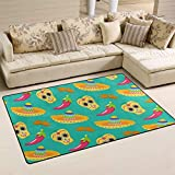 linomo Teppich Mexikanischer Sugar Skull Chili Boden Teppich Fußmatte Wohnzimmer Home Decor Teppiche Bereich Mats für Kinder Jungen Mädchen Schlafzimmer 78,7 x 50,8 cm, Sonstige, multi, 31 x 20 inches