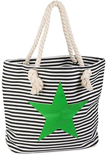styleBREAKER Strandtasche in Streifen Optik mit Stern, Schultertasche, Shopper, Damen 02012037, Farbe:Schwarz-Weiß/Grün