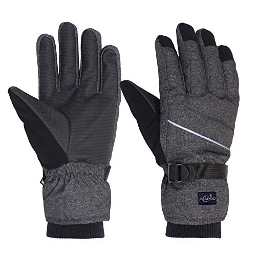 Waterproof Ski Snowboard Gloves with 3M Thinsulate, Cold Weather Gloves for Men(Piping,L)