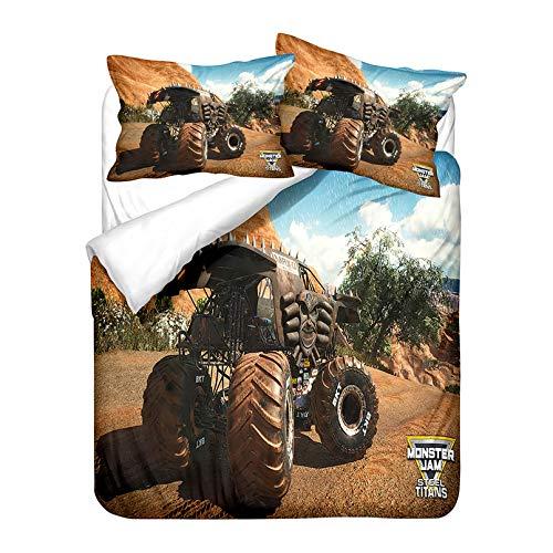 NBAOBAO Monster Trucks - Juego de funda nórdica y funda de almohada (7,220 x 240 cm + 80 x 80 cm x 2 cm), diseño de Monster Trucks