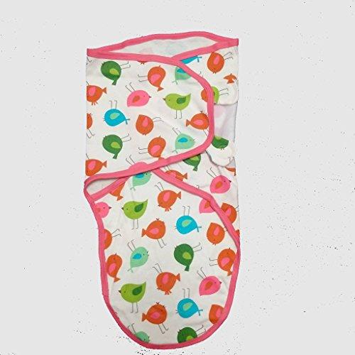 Cobertor de envolver banana para bebês, de pequeno a médio, 3,2 a 6,3 kg. Conjunto de envolver bebê ajustável de algodão macio, pequeno a médio, design de pássaro da Amazon