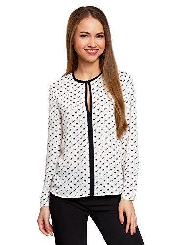 oodji Ultra Damen Bluse aus Fließendem Stoff mit Kontrastbesatz, Weiß, DE 38 / EU 40 / M