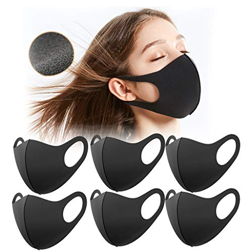 Aujelly 6 Stück Eisseide Mundschutz für Erwachsene Wiederverwendbar waschbar Staubdicht Atmungsaktiv Mund-Nasen Bedeckung Halstuch Schals BSEC (Erwachsene, Eisseidenstoff-G)