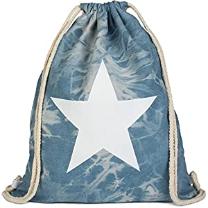 5161cfOqwZL. SS300  - styleBREAKER Bolsa de Deporte Hipster óptica Vaquera con impresión de Estrella en Estilo Batik Desgastado, Mochila, Bolsa de Deporte, Bolso, Unisex 02012171, Color:Azul