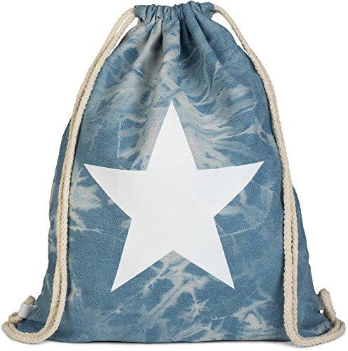 styleBREAKER Bolsa de Deporte Hipster óptica Vaquera con impresión de Estrella en Estilo Batik Desgastado, Mochila, Bolsa de Deporte, Bolso, Unisex 02012171, Color:Azul