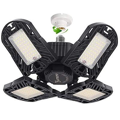 LED Garage Light Yurnero 100W 10000LM Deformable LED Garage Ceiling Light with 4 Adjustable LED Panels for Shop Light,Working Light,Barn Light,Bay Light,Warehouse Ceiling Light with E26 Standard Base
