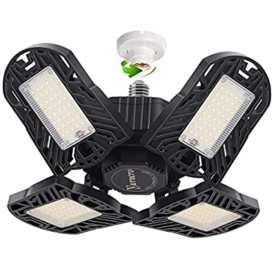 LED Garage Light Yurnero 100W 10000LM Deformable LED Garage Ceiling Light with 4 Adjustable LED Panels for Shop Light… - ☀【Deformable Design】New upgrade four leaf garage light with 4 wings and each wing 90 degree adjustable, and you can DIY at different angles, which will make the light cover 360° area. No dark. ☀【High-brightness & Energy Saving】Deformable LED garage light has 192 pcs high quality LED, produces up to 10000 lumens brightness, high light efficiency. High-brightness and energy-saving LED bulbs not only provide enough brightness but also reduce 85% power consumption ☀【Long Life Each】panel features premium aluminum hollow-out design, which greatly improved cooling efficiency for maximum performance. With high-temperature resistant & corrosion resistant performance, this garage lights could last at most 60000 hours. - kitchen-dining-room-decor, kitchen-dining-room, chandeliers-lighting - 5161cjvJ6vL. SS400  -